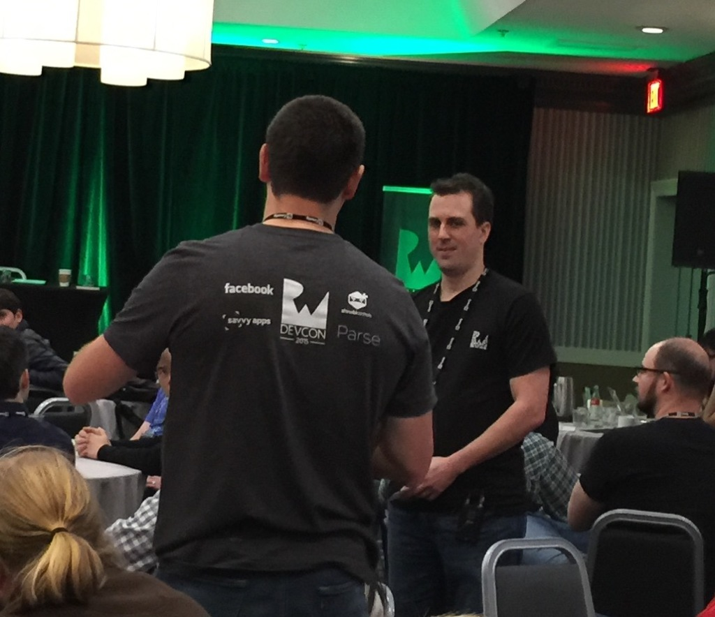 Ray Wenderlich gets feedback from an attendee at RWDevCon