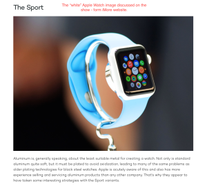 "the ""overexposed"" white appearing Apple Watch"